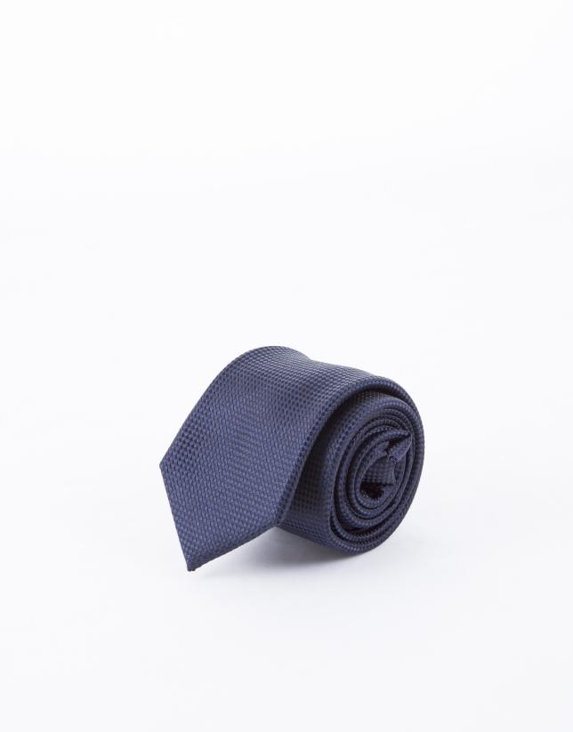 Corbata microdibujo en azul marino