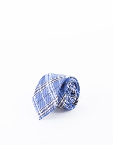 Cravate à carreaux dans les tons bleus