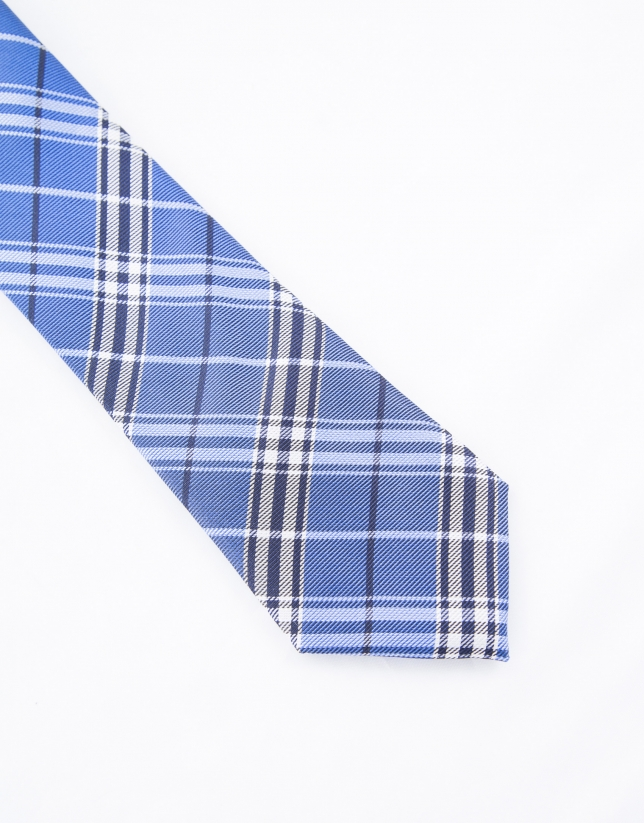 Blue checked tie