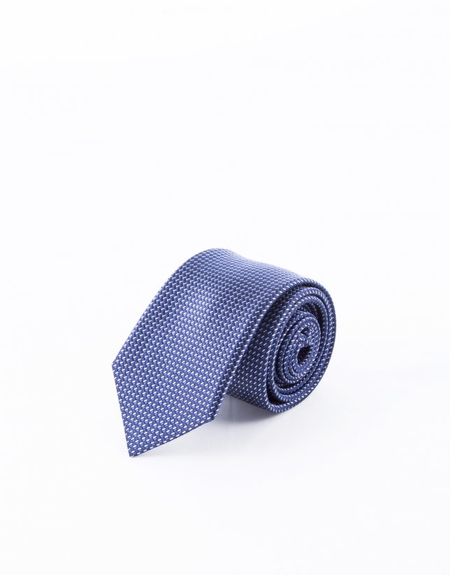 Blue tie with motifs