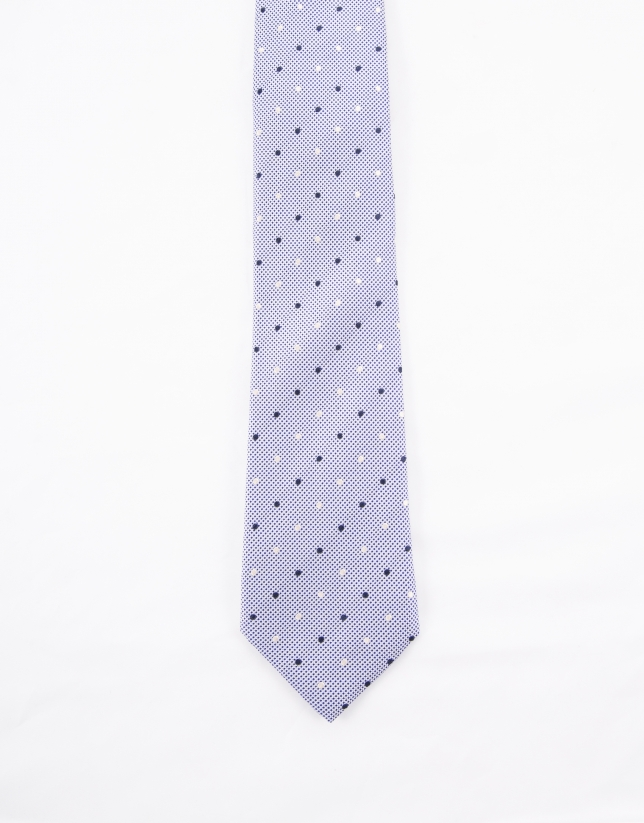 Tie with white and navy blue dots