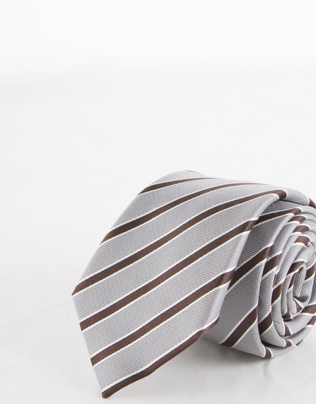 Brown striped tie