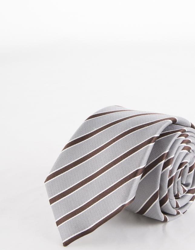 Cravate à rayures dans les tons marron