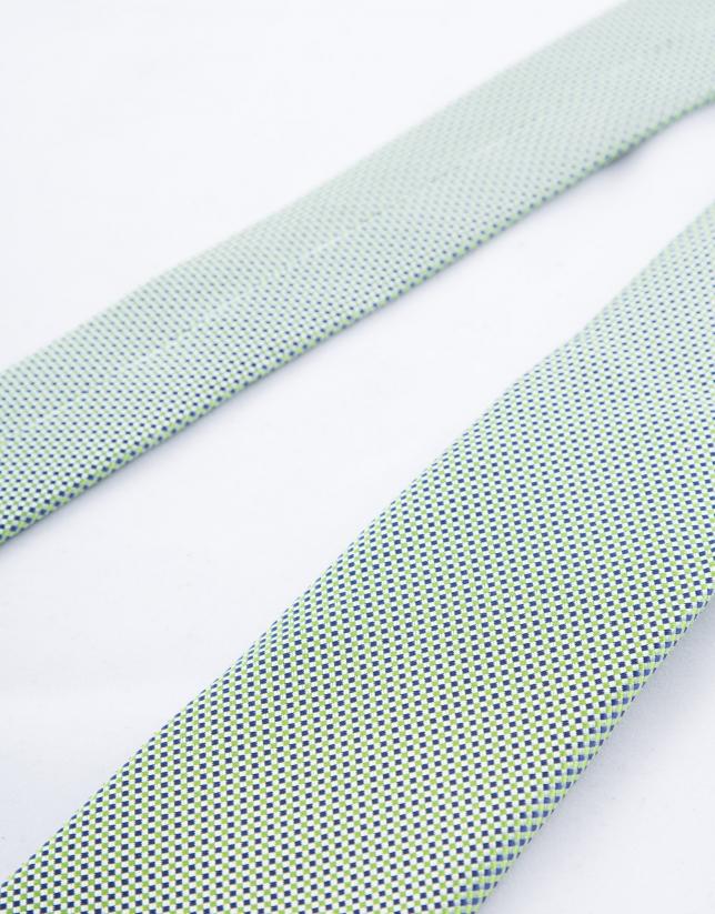 Cravate à micro-motifs verts et bleus