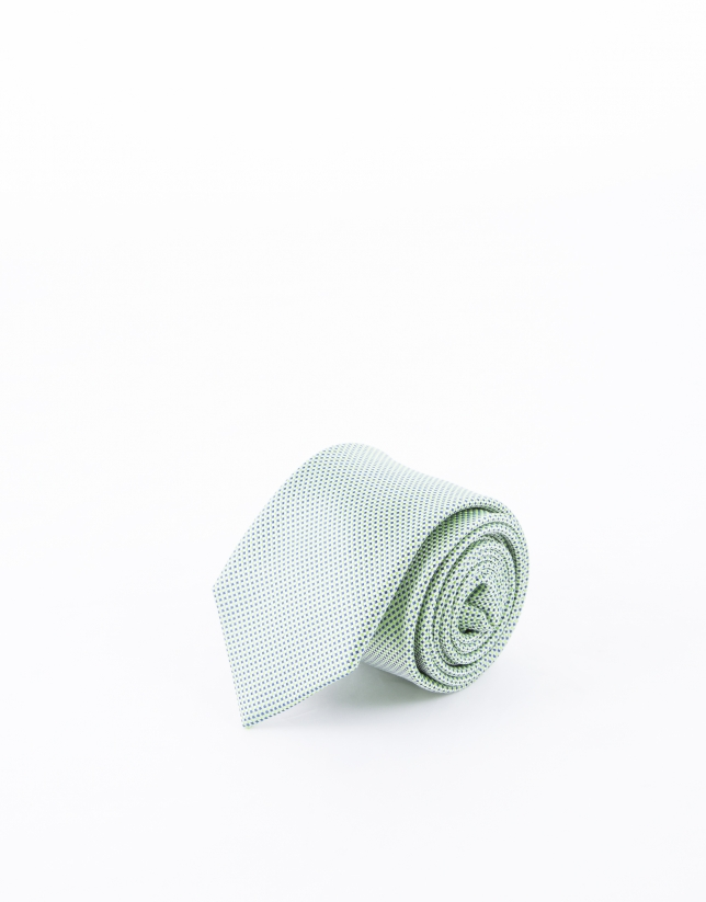Green and blue microprint tie