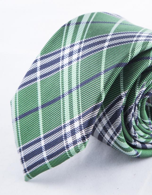 Corbata verde y azul cuadros