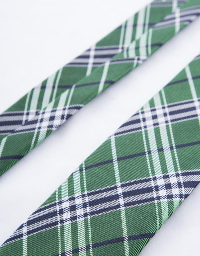 Cravate à carreaux verts et bleus