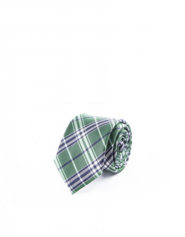 Green and blue checked tie