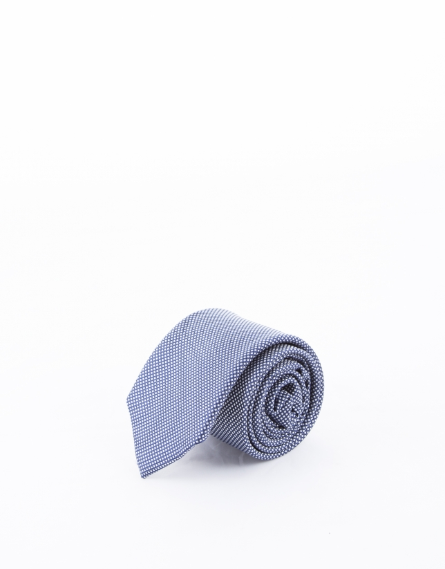 White and navy blue microprint tie