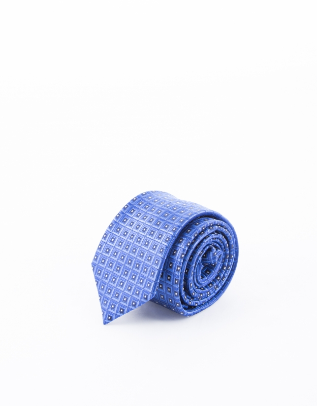 Tie with blue motifs