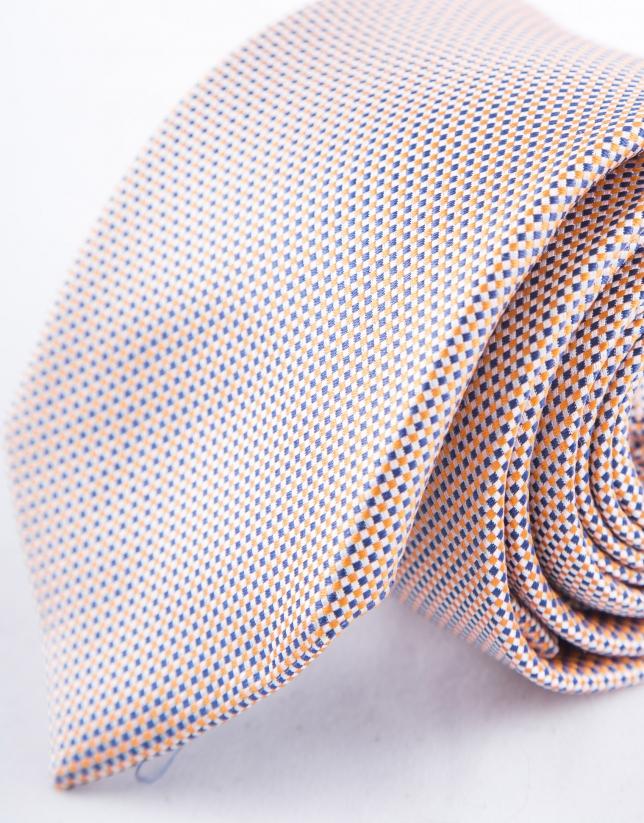 Cravate à micromotifs orange et bleus