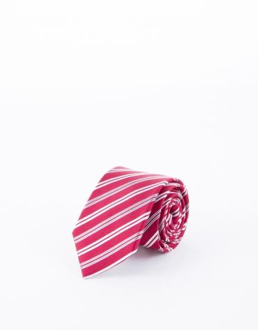 Cravate à rayures rouges et blanches