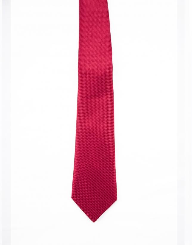 Cravate à micro-motifs rouges