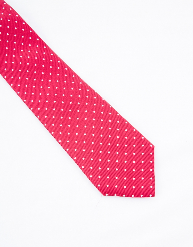 Red tie with white dots