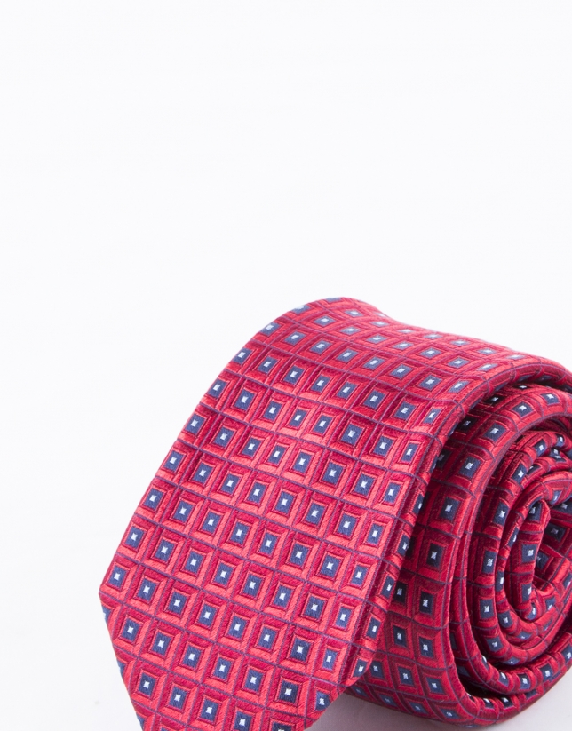 Tie with red and blue motifs