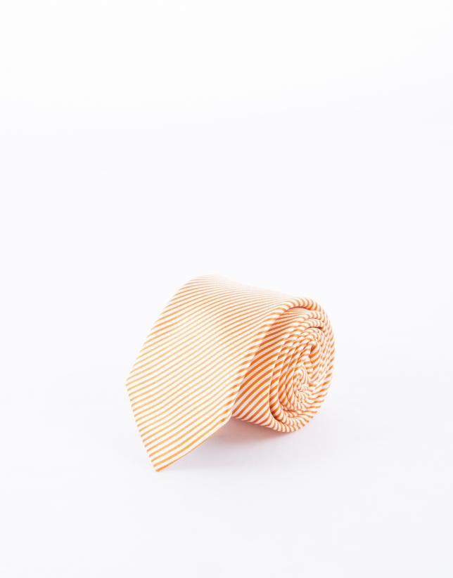 Orange and white striped tie