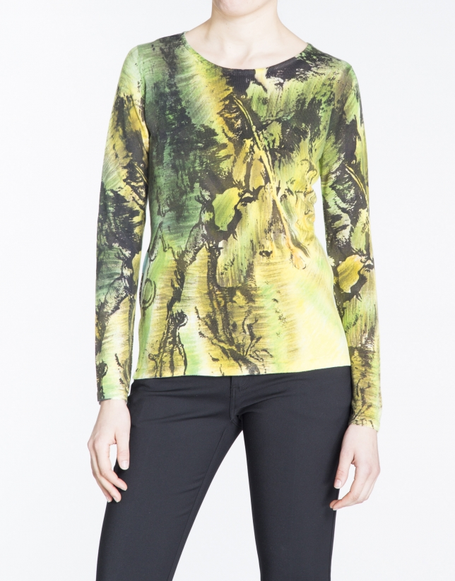 Green and yellow hand-printed long sleeve sweater