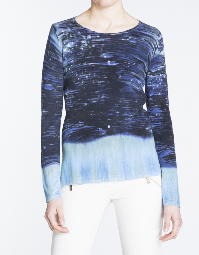 Blue hand-printed long sleeve sweater