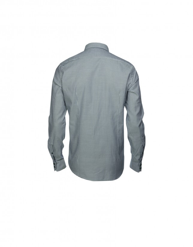 Camisa sport Vichy verde/azul
