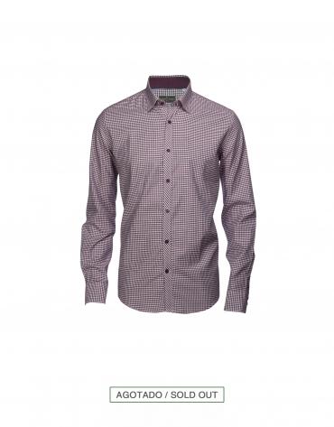 Camisa sport Vichy burdeos/gris