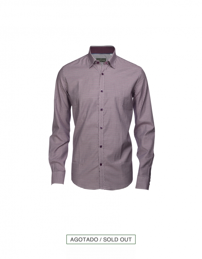 Bordeaux and grey gingham/Vichy casual shirt