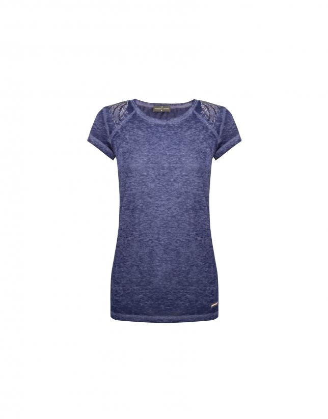 T-shirt bleu délavé, manches courtes raglan avec strass sur les épaules