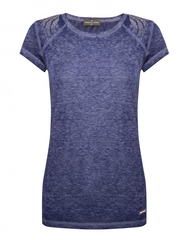 Camiseta azul de lavado manga raglán corta con strass en hombros