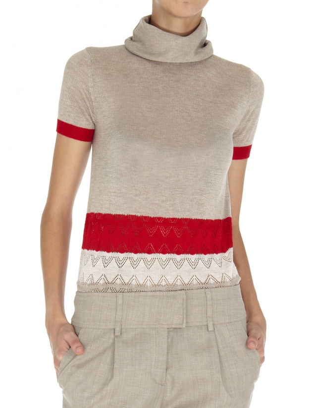 Beige and red striped openwork turtleneck top