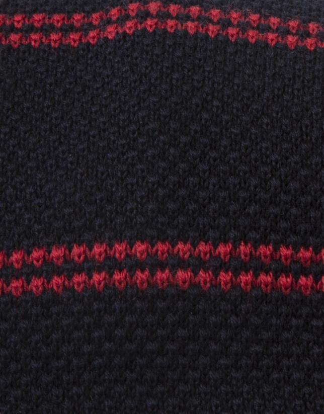 Cravate à rayures rouges sur fond bleu marine