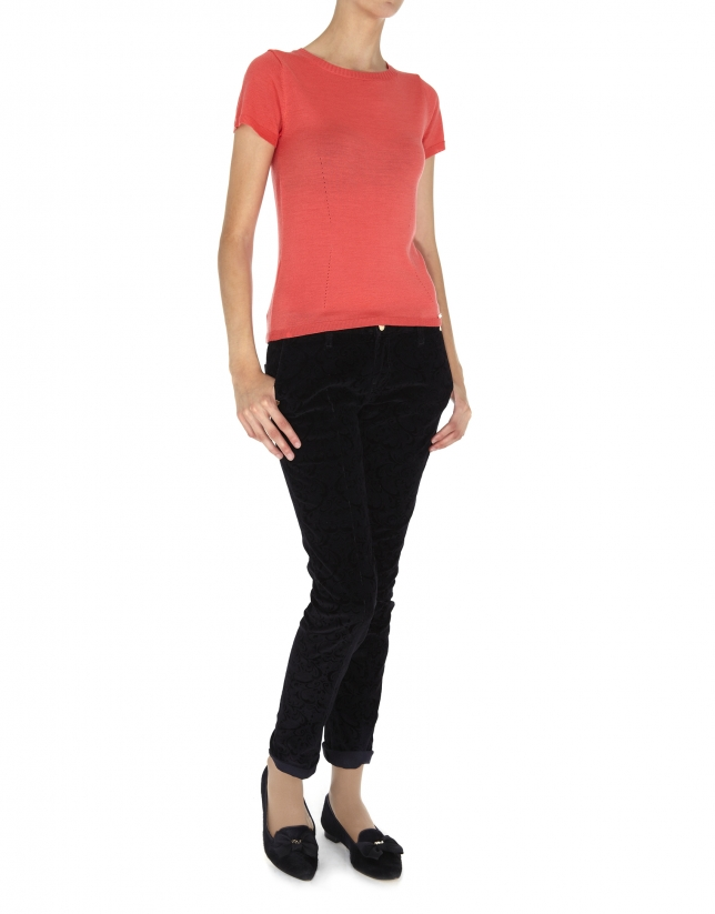 Coral wool and silk top
