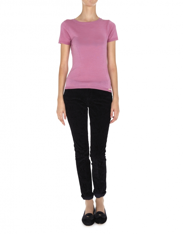 Pale pink wool and silk top