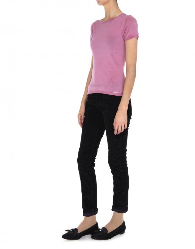 Top para twin set rosa palo para twin set en lana y seda