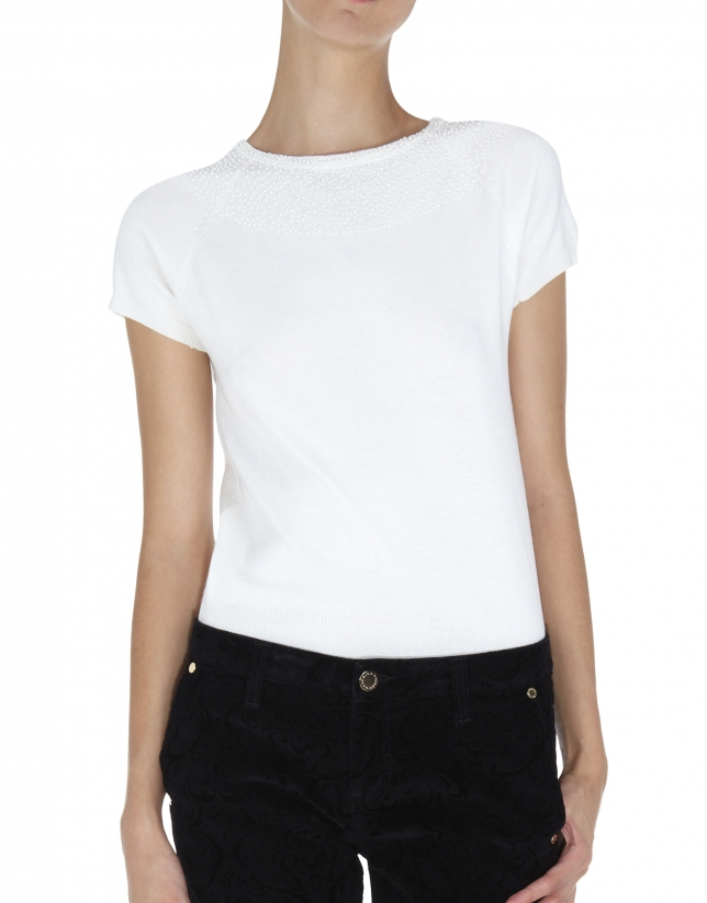 White top with pearls at neckline