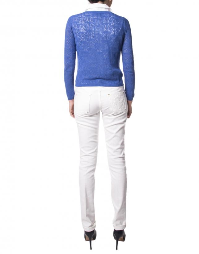 Blue openwork jacket