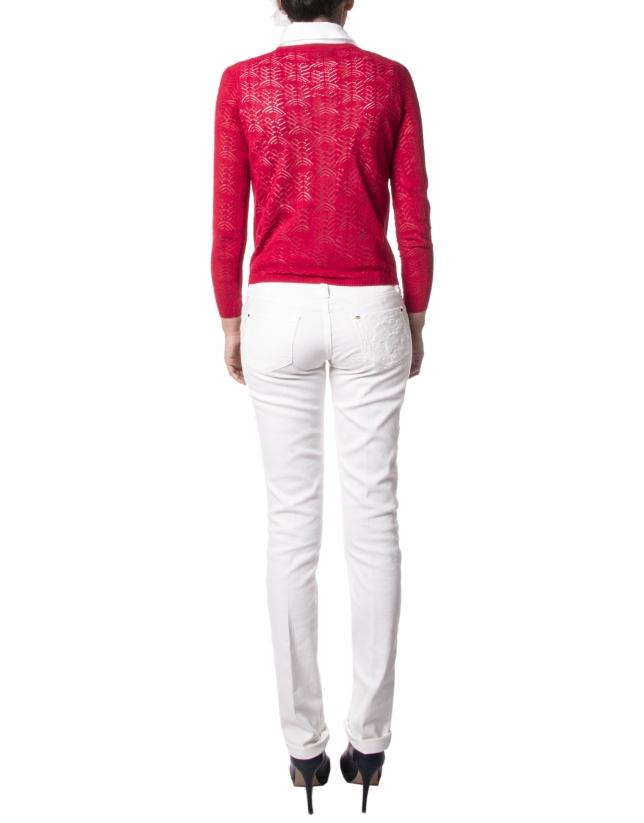 Red openwork jacket