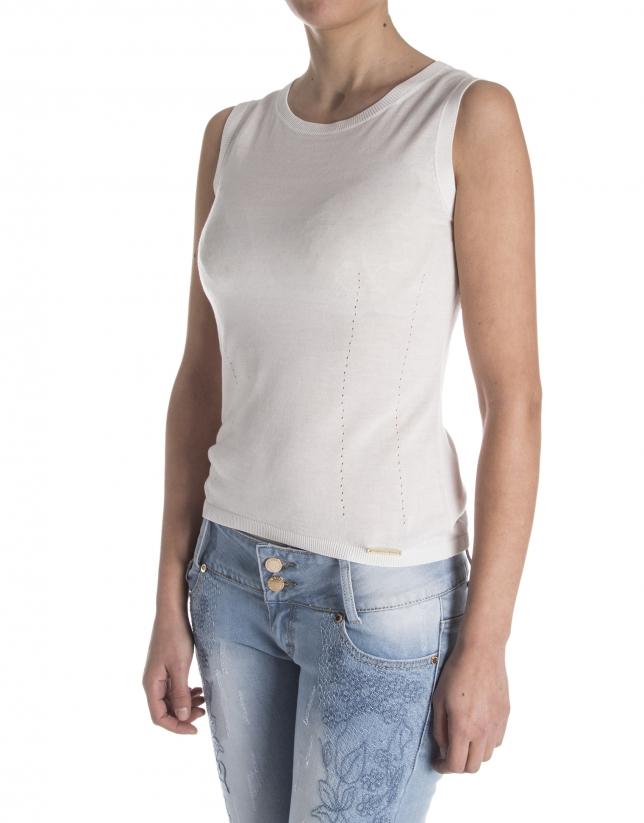 Off white knit sleeveless sweater