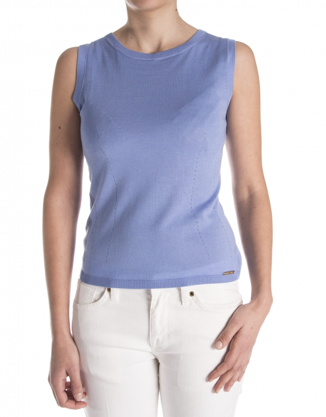 Blue knit sleeveless sweater