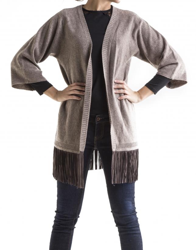Beige knit fringed jacket