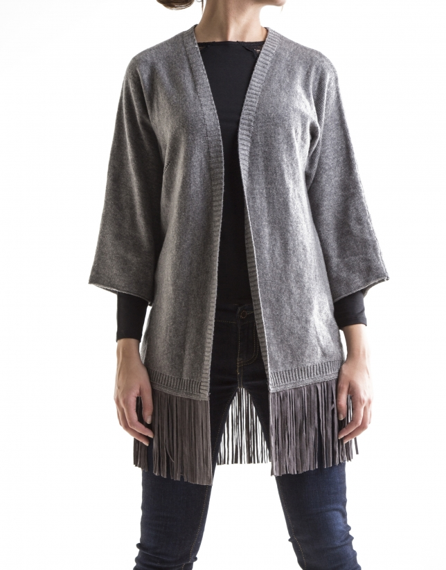 Grey knit fringed jacket