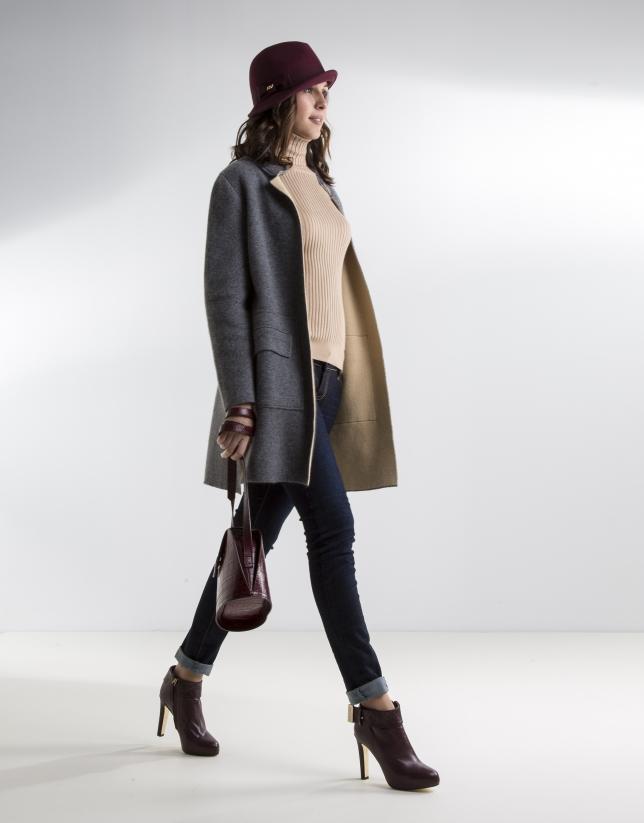 Gray knit coat