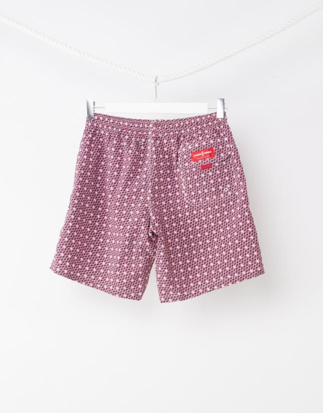 Red geometric print bathing suit