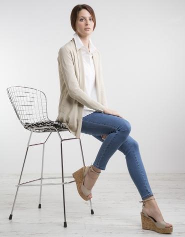 Beige knit loose jacket
