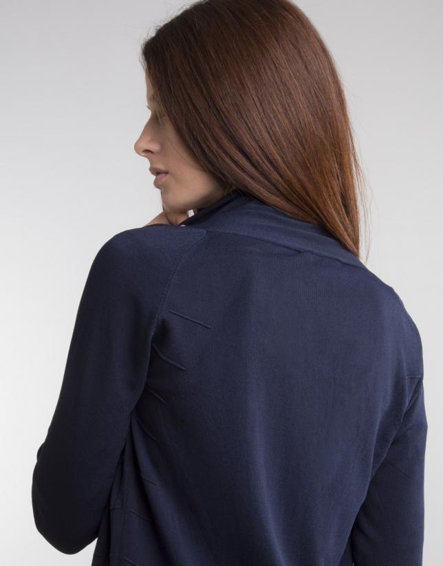 Blue knit loose jacket