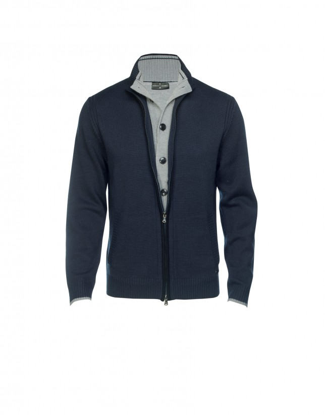 Blue zippered cardigan