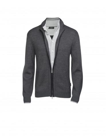 Cárdigan lana y acrílico gris