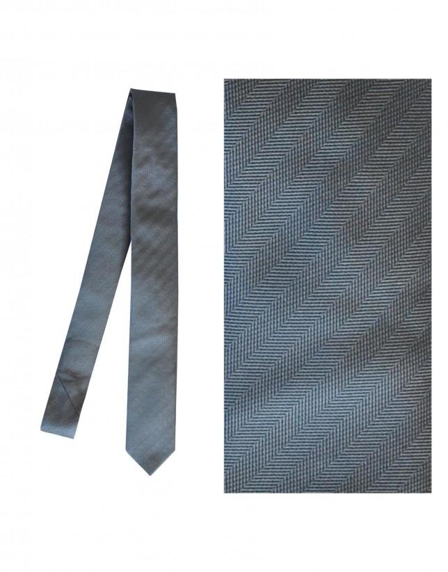 Corbata seda gris espiga