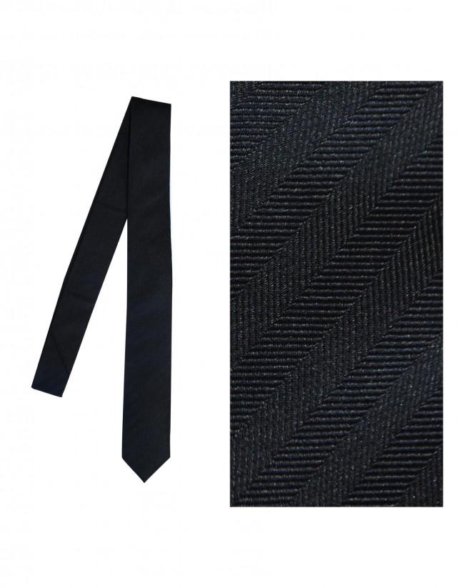 Corbata seda negro espiga