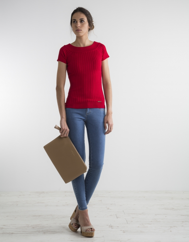 Red ribbed sweater