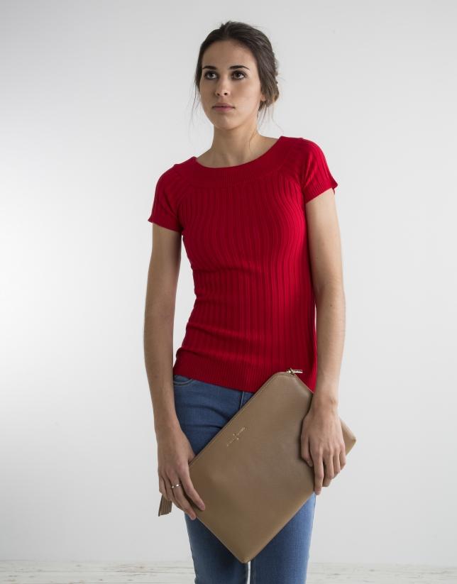 Jersey canalé rojo