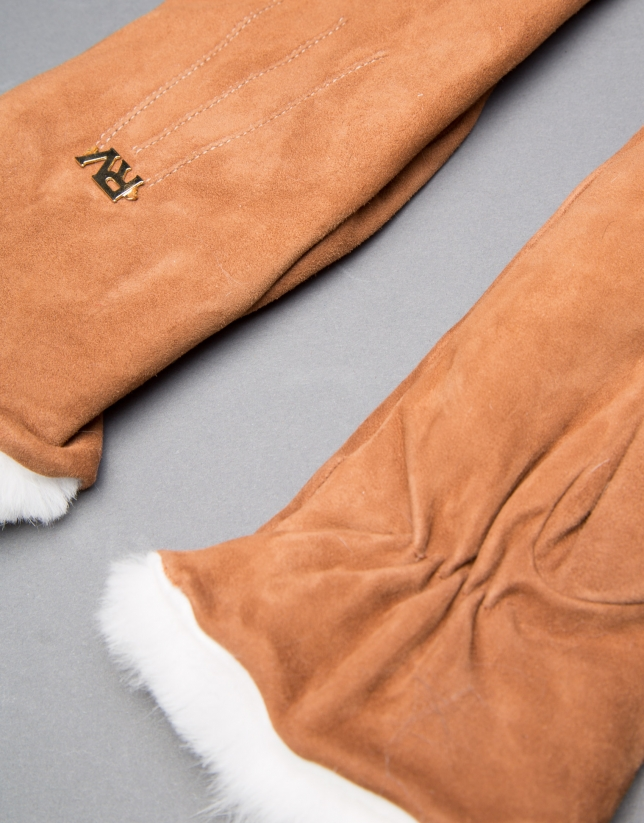 Brown suede mittens with cream-colored rabbit cuffs